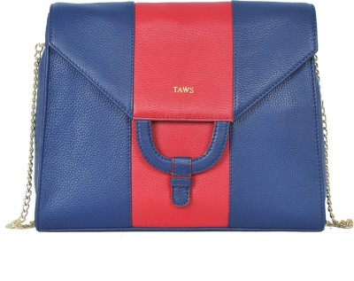 Taws Women Blue Genuine Leather Sling Bag