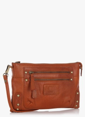 Fume Men, Women Casual Brown Genuine Leather Sling Bag