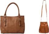 Lychee Bags Women Brown, Beige PU Tote