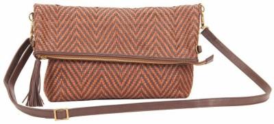 SVI Women Casual Brown Genuine Leather Sling Bag