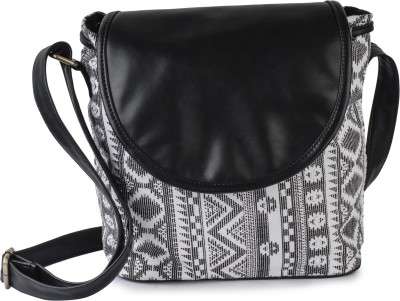 Lychee Bags Women Casual Black Canvas Sling Bag