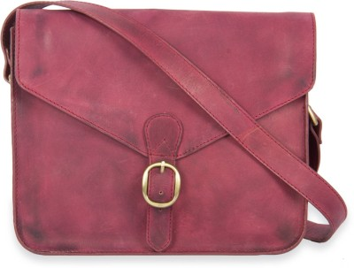 Calligraphy Women Casual Red Genuine Leather Sling Bag