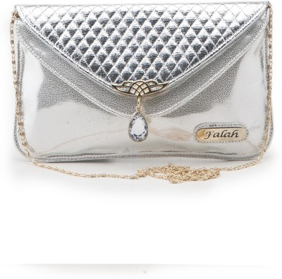 Falah Bag Works Girls Silver PU Sling Bag