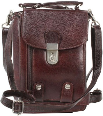 Top Flyte Women Brown Genuine Leather Sling Bag