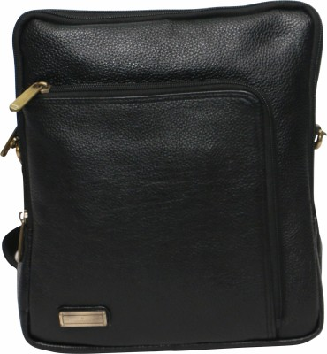 C Comfort Men, Boys, Girls, Women Black Genuine Leather Sling Bag