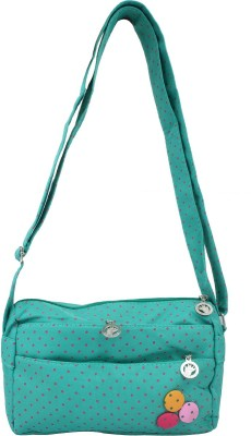 Super Drool Women, Girls Green PU Sling Bag