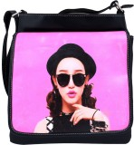 Super Drool Women Black PU Sling Bag