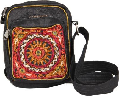 Merci Women Casual Black Cotton Sling Bag