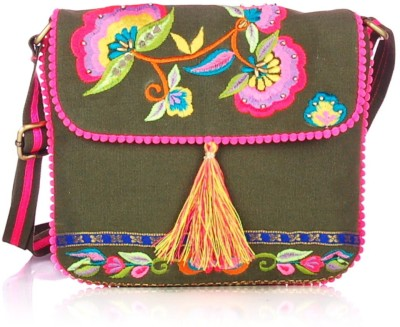 Shaun Design Women, Girls Green Canvas Sling Bag