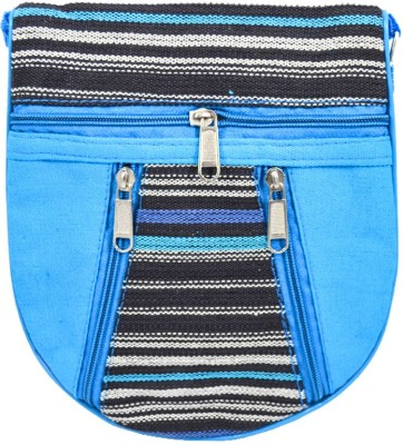 Mpkart Girls Casual Blue Jute, Cotton Sling Bag