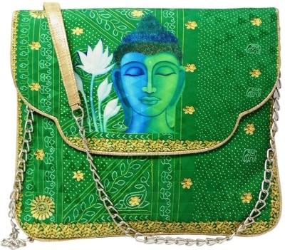 Bhamini Women Casual Green Cotton Sling Bag