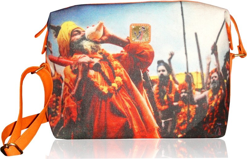 JAJV Girls Casual Orange Canvas Sling Bag Vj Sli Saint
