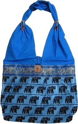CraftCor Girls, Women Blue Cotton Shoulder Bag