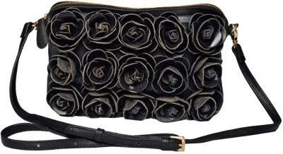 Klasse Girls Evening/Party Black Genuine Leather Sling Bag