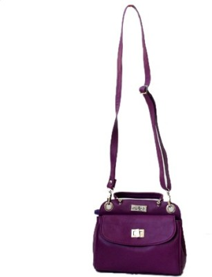 Checkmate Girls Casual Purple Genuine Leather Sling Bag