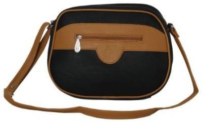 Kuero Women Black, Tan Leatherette Sling Bag