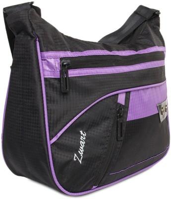 Zwart Men, Women Casual Black, Purple Polyester Sling Bag