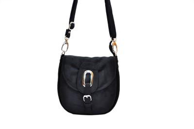 Hide Bulls Girls Black Velvet Sling Bag