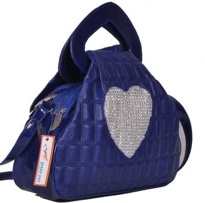 Speed Dot Women Evening/Party Blue Linen Sling Bag