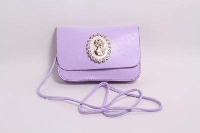 Pinkdivaas Girls Purple Leatherette Sling Bag