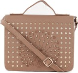 Histeria Women Tan Leatherette Sling Bag