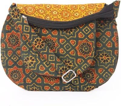 Ethnicshack Women Casual Green Cotton Sling Bag