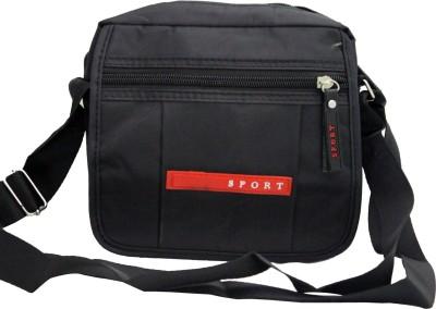 Shopping Feast Men Black Nylon Sling Bag
