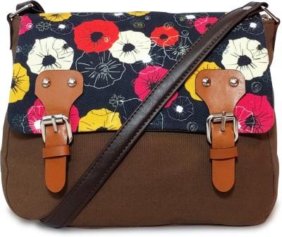 Lemon Trunk Women Black, Brown Canvas Sling Bag