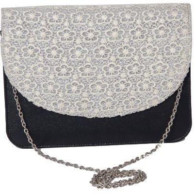 Kuero Women Black, White Leatherette, Cotton Sling Bag