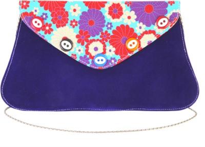 Sanjog Women, Girls Blue Velvet Sling Bag