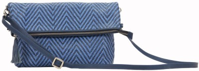 SVI Women Casual Blue Genuine Leather Sling Bag