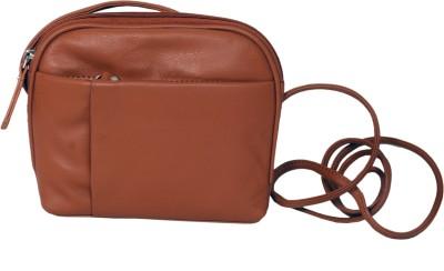 Manera Women Tan Genuine Leather Sling Bag
