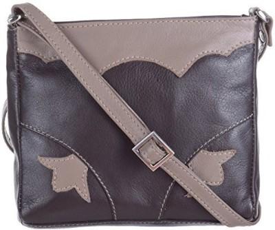 EUPHORIA Girls Brown Genuine Leather, Nylon Sling Bag