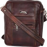 Bluwhale Men Brown Genuine Leather Sling Bag