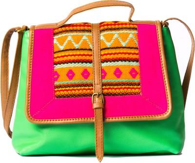 Desi Drama Queen Girls Casual Green PU Sling Bag