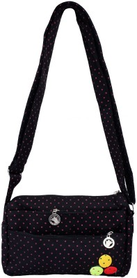 Super Drool Women, Girls Black PU Sling Bag