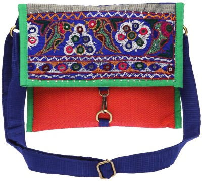 Pranil Designs Women Casual Red, Blue Cotton Sling Bag