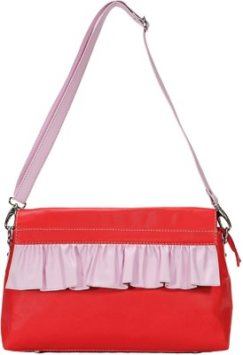 Borsavela Women Casual Red Genuine Leather Sling Bag