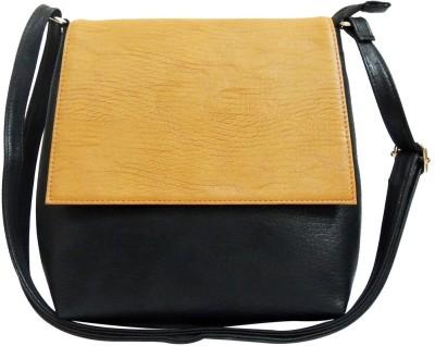 Kion Style Girls, Women Black, Beige Leatherette Sling Bag