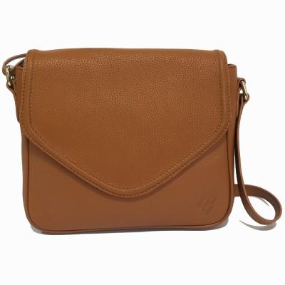 Gripp Women, Girls Tan Genuine Leather Sling Bag