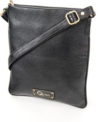 Quero Women Casual Black Genuine Leather Sling Bag