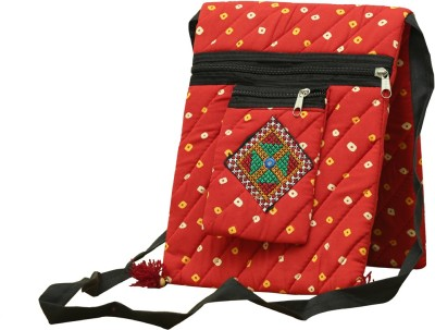 SAANKHYA Girls, Women Red Cotton Sling Bag