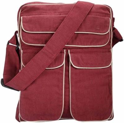 Friends of Meditation Men, Women Casual Maroon Cotton Sling Bag