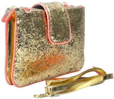 Zaera Women Casual Gold PU Sling Bag