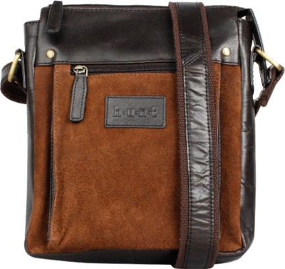 Hunt Men Brown Genuine Leather Sling Bag