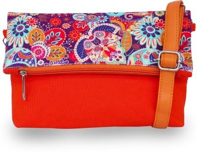 Lemon Trunk Women, Girls Multicolor, Orange Canvas, PU Sling Bag