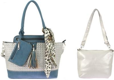 velina Women Blue, Grey PU Shoulder Bag