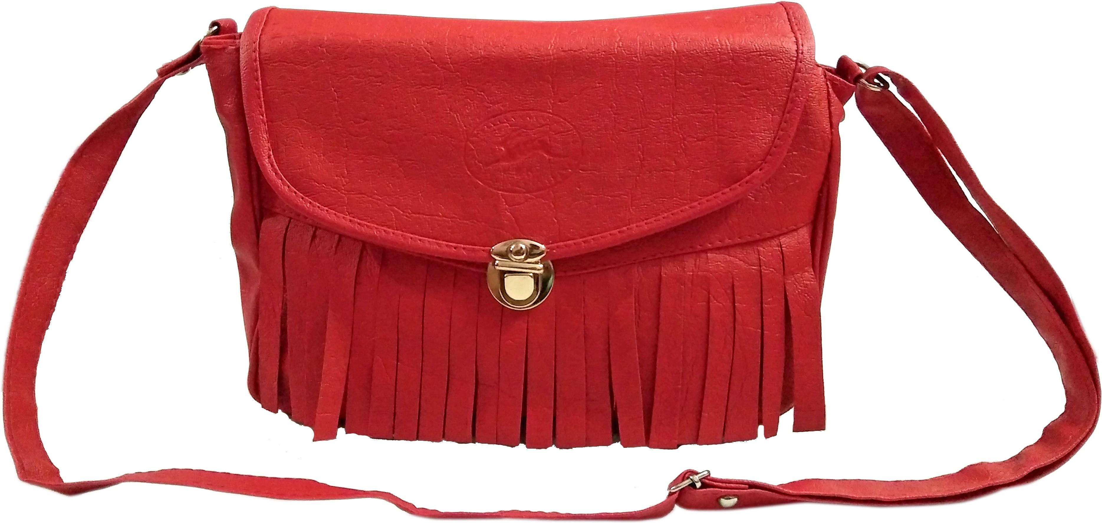 Sling bag below 500 - Madash Girls Red Leatherette Sling Bag