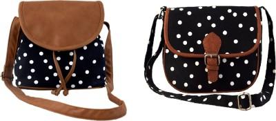 Lychee Bags Women Black Canvas Sling Bag
