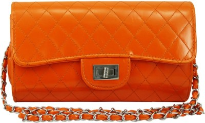 Hi Look Women Casual Orange PU Sling Bag